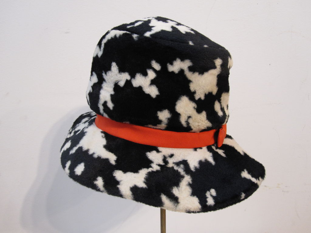 "Women's Mod ""Dachettes"" Hat by Lilly Dache in Dalmation Print For Sale"