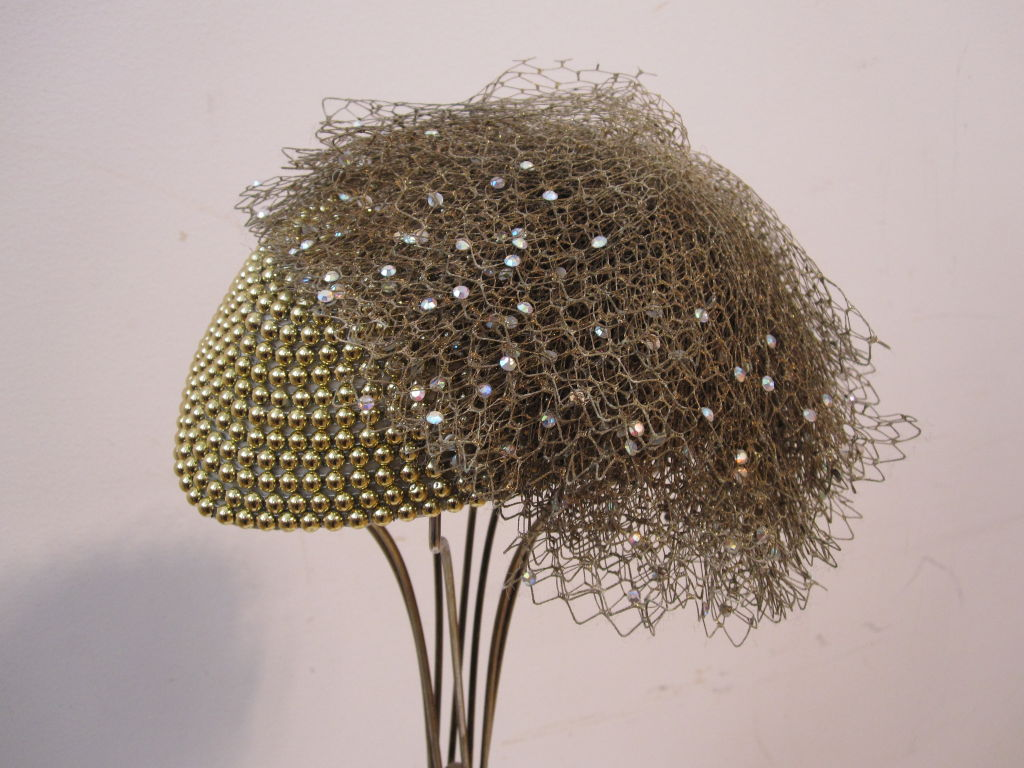 "Jack McConnell 80s Solid Gold Beaded ""Military"" Hat 2"