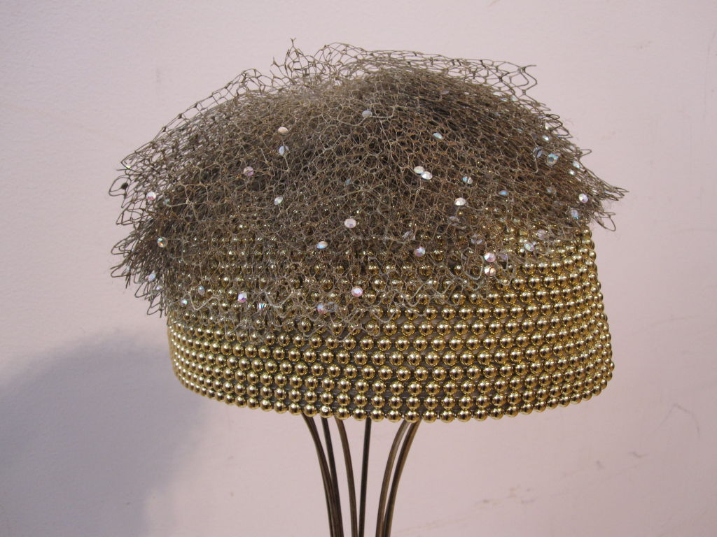 "Jack McConnell 80s Solid Gold Beaded ""Military"" Hat 3"