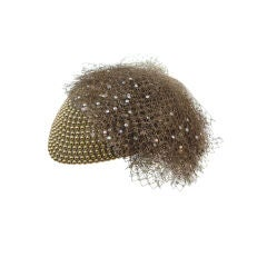 "Jack McConnell 80s Solid Gold Beaded ""Military"" Hat"