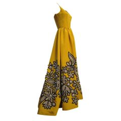 Oscar De la Renta Yellow Ball Gown with Incredible Applique