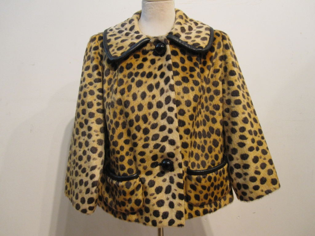 60s Fabulous Faux Cheetah Coat with Cropped Mod Styling 2