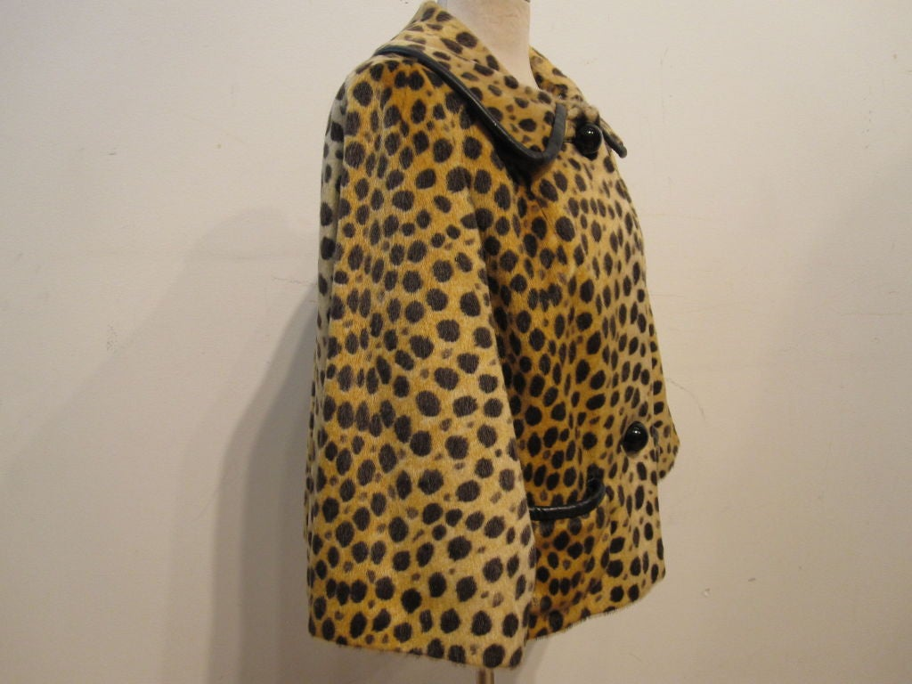 60s Fabulous Faux Cheetah Coat with Cropped Mod Styling 3