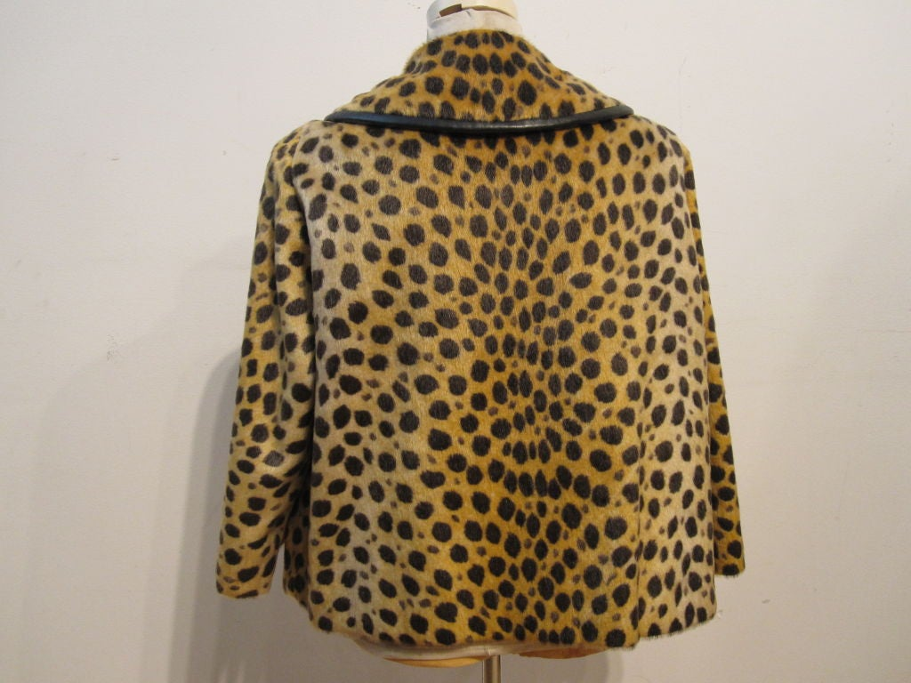 60s Fabulous Faux Cheetah Coat with Cropped Mod Styling 4