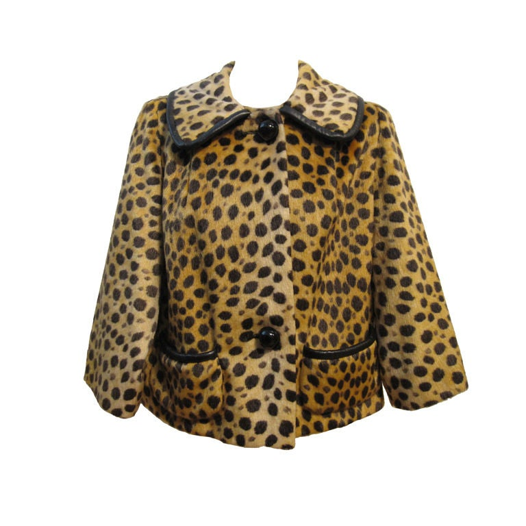 60s Fabulous Faux Cheetah Coat with Cropped Mod Styling 1