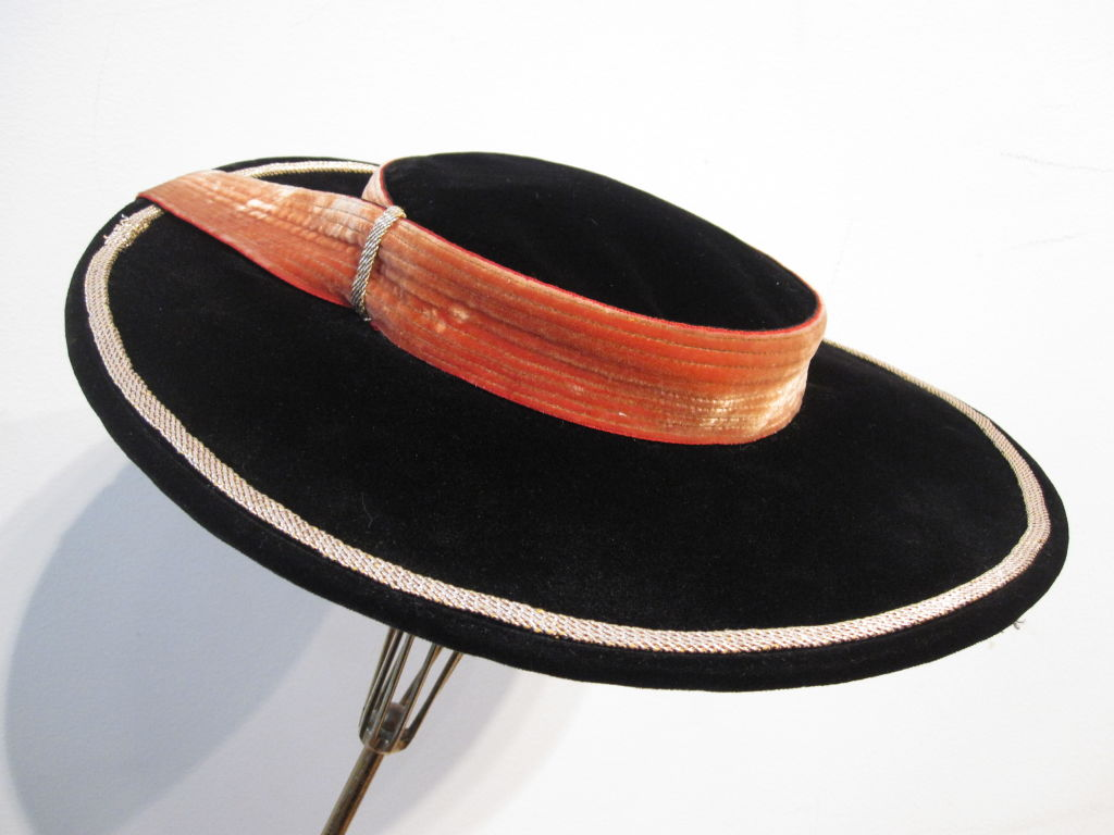 40s Hat in Apricot and Black Velvet  - Spanish Style 4