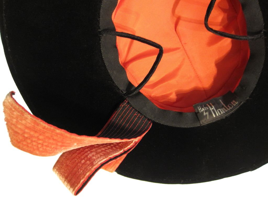 40s Hat in Apricot and Black Velvet  - Spanish Style 5