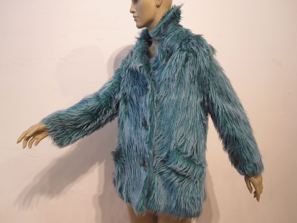 Wooly Faux Fur Jacket in Aqua and Turquoise 2