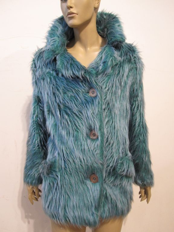 Wooly Faux Fur Jacket in Aqua and Turquoise 3