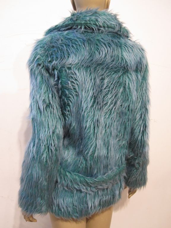 Wooly Faux Fur Jacket in Aqua and Turquoise 4