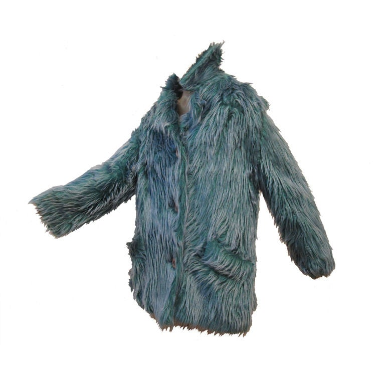 Wooly Faux Fur Jacket in Aqua and Turquoise 1