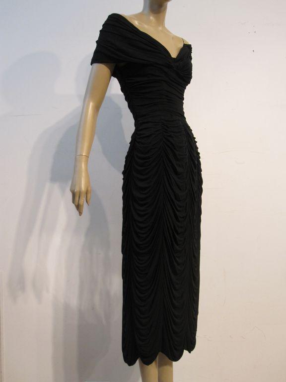 Ceil Chapman Black Silk Jersey Draped 50s Cocktail Dress