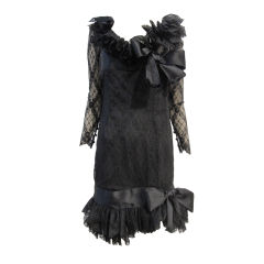 Bill Blass 80s Black Lace Ruffled Cocktail Dress