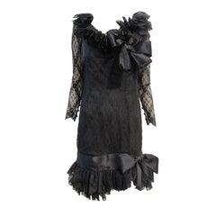 Bill Blass 80s Black Lace Ruffled Cocktail Dress