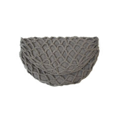 1940s Gray Flannel Crochet Half-Moon Clutch