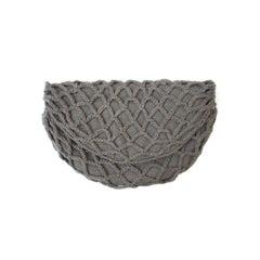 1940s Gray Flannel Crochet Half-Moon Clutch