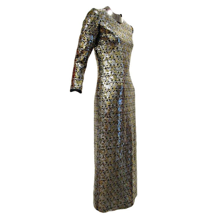 Leo Narducci 60s Silver and Gold Solid Sequin  Evening Dress