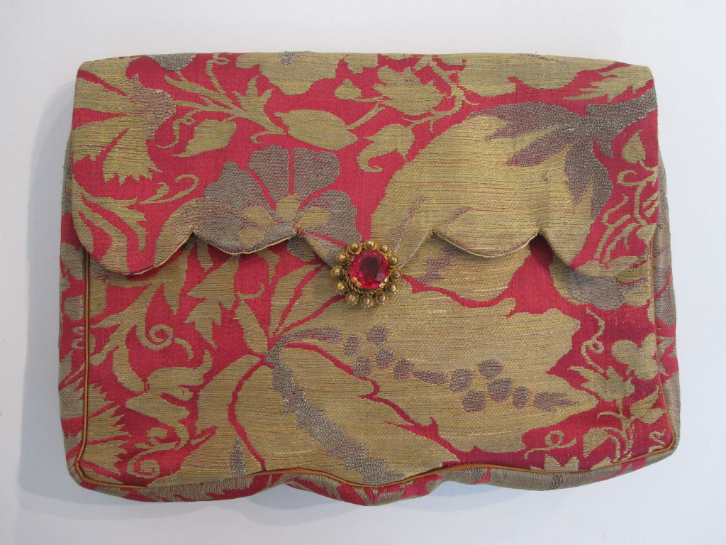 French-Made Saks Fifth Avenue 1940s Brocade Clutch 2