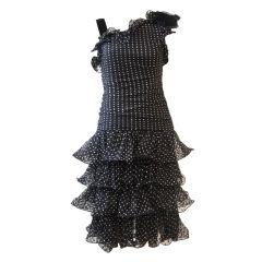 Oscar De la Renta  Silk Polka Dot Chiffon Cocktail Dress