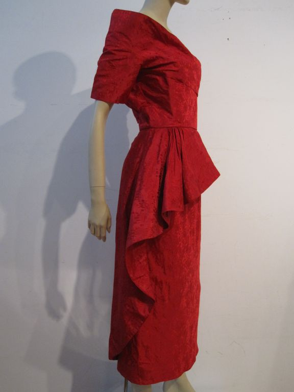 Ceil Chapman 50s Spectacular Red Jacquard Holiday Dress At