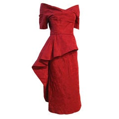 Ceil Chapman 50s Spectacular Red Jacquard Holiday Dress