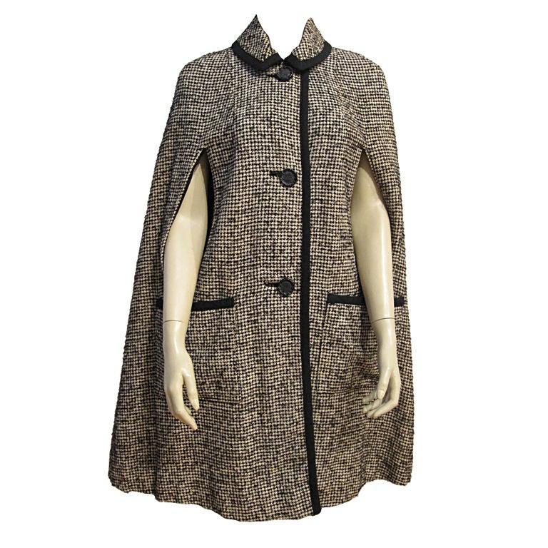 60s Mod Tweed Cape At 1stdibs