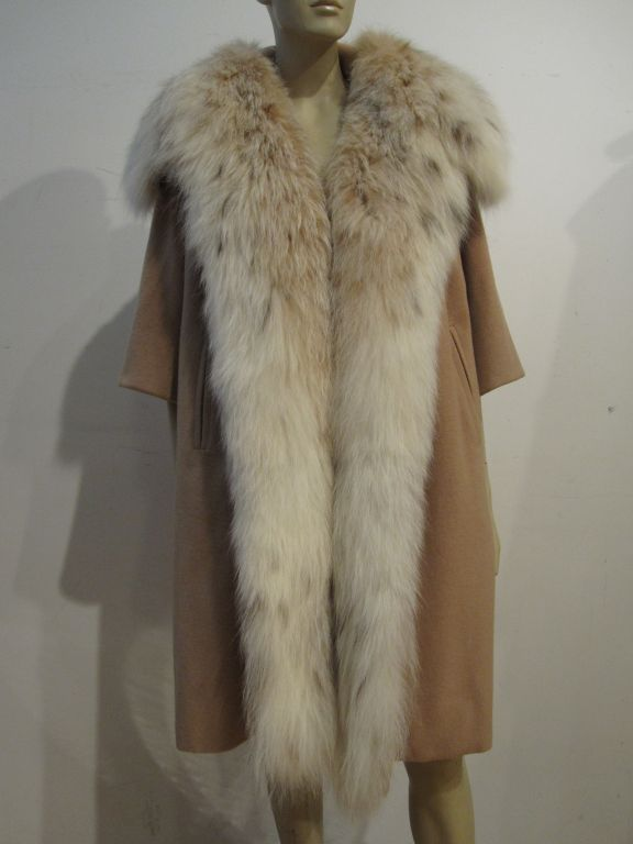 Women's I. Magnin 50s  Camel Cashmere and Lynx Trapeze Coat