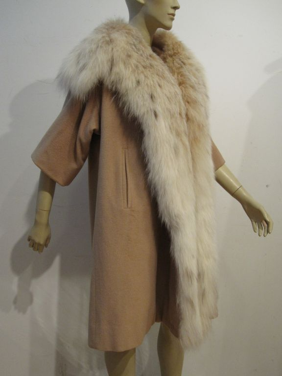 I. Magnin 50s  Camel Cashmere and Lynx Trapeze Coat 1