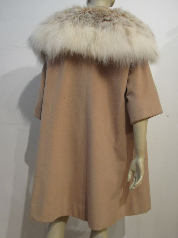 I. Magnin 50s  Camel Cashmere and Lynx Trapeze Coat 2