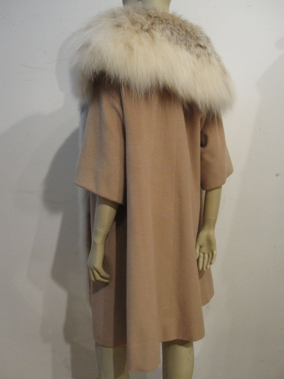I. Magnin 50s  Camel Cashmere and Lynx Trapeze Coat 3