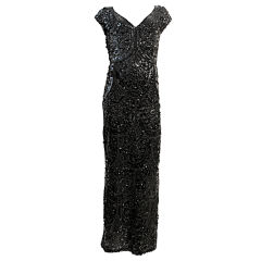 60s Gene Shelley  Black Bead and Sequin Gown - Hollywood Glam