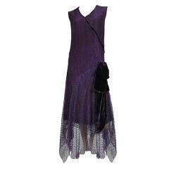 1920s Royal Purple Silk Net Tea Dress with Velvet Bow