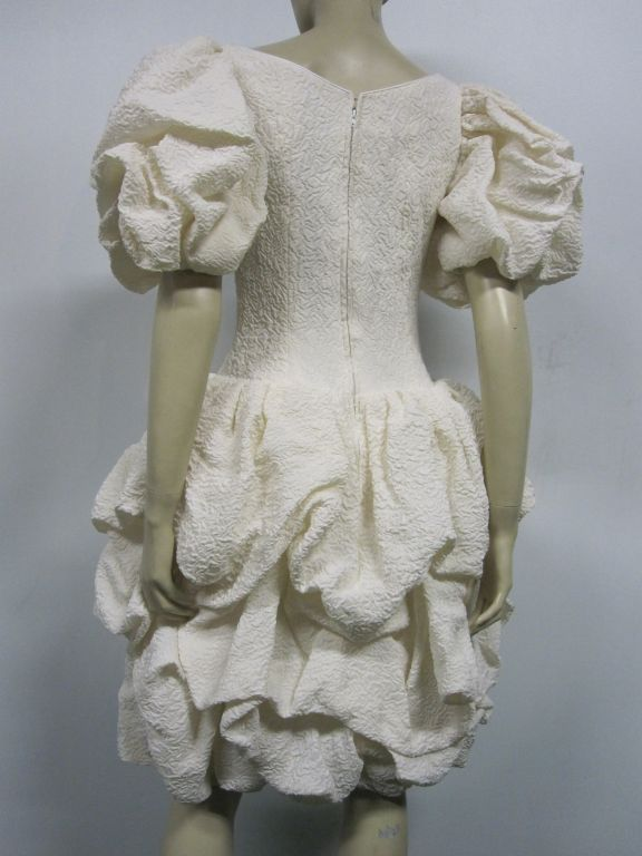 Women's 80s Silk Ivory Michael Casey Pouf Cocktail Dress For Sale