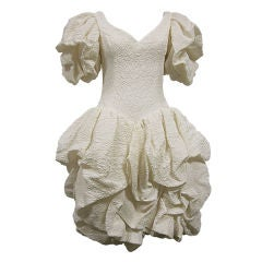 80s Silk Ivory Michael Casey Pouf Cocktail Dress