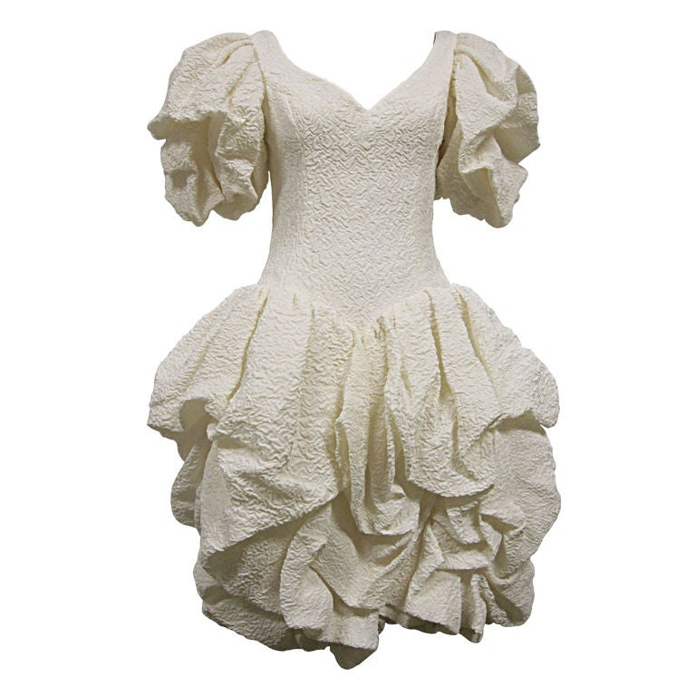 80s Silk Ivory Michael Casey Pouf Cocktail Dress For Sale