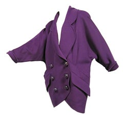 80s Karl Lagerfeld Royal Purple Double Breasted Cocoon Coat