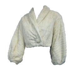 1954 Ermine Cropped Evening Jacket with Barrel Sleeves