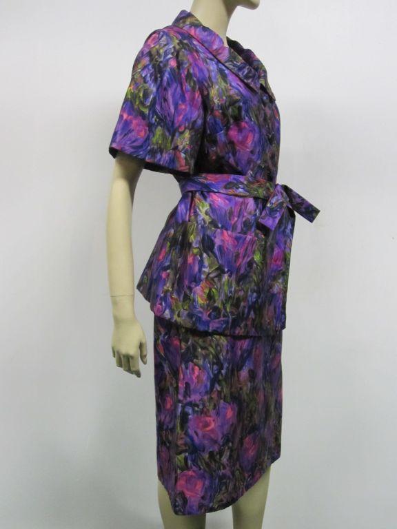 60s Christian Dior Silk Floral Print Sheath Dress And