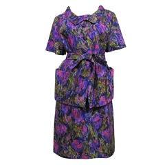 60s Christian Dior Silk Floral Print Sheath Dress and Jacket