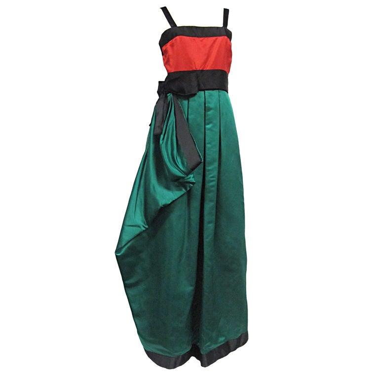 2ccaaf27d3 Bill Blass Silk Satin 80s Gown For Sale at 1stdibs