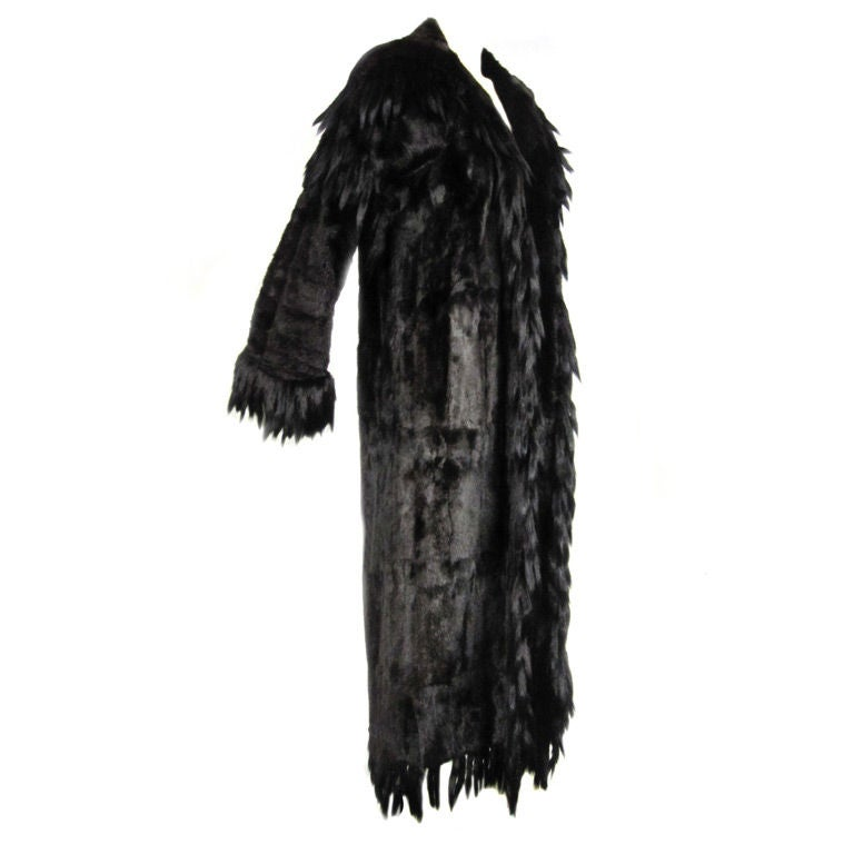 neiman marcus 70s maxi coat in stoat fur with tail fringe. Black Bedroom Furniture Sets. Home Design Ideas