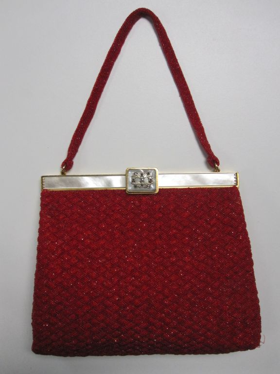 50s French Red Beaded Evening Bag