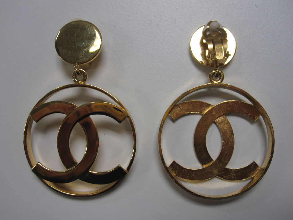 chanel earrings price chanel gold tone quot c quot logo earrings at 1stdibs 236