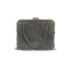 50s Black Bead Fringe Evening Bag