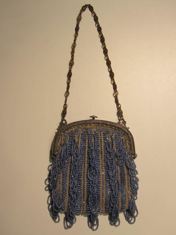 20s Cornflower Blue Loop-Fringe Hand-Beaded Bag 2