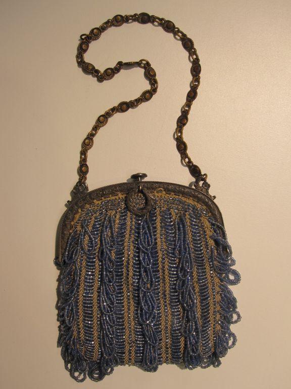 20s Cornflower Blue Loop-Fringe Hand-Beaded Bag 3
