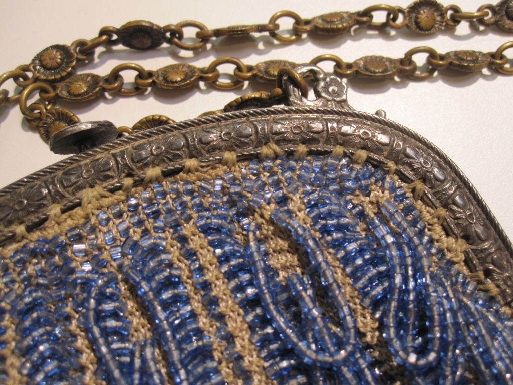 20s Cornflower Blue Loop-Fringe Hand-Beaded Bag 4