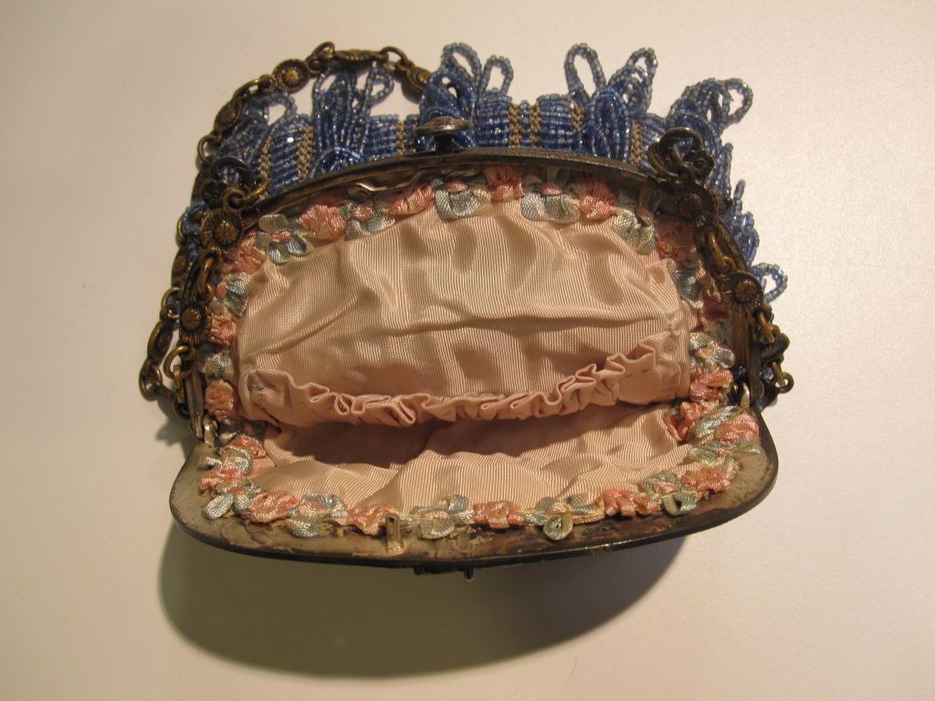 20s Cornflower Blue Loop-Fringe Hand-Beaded Bag 5