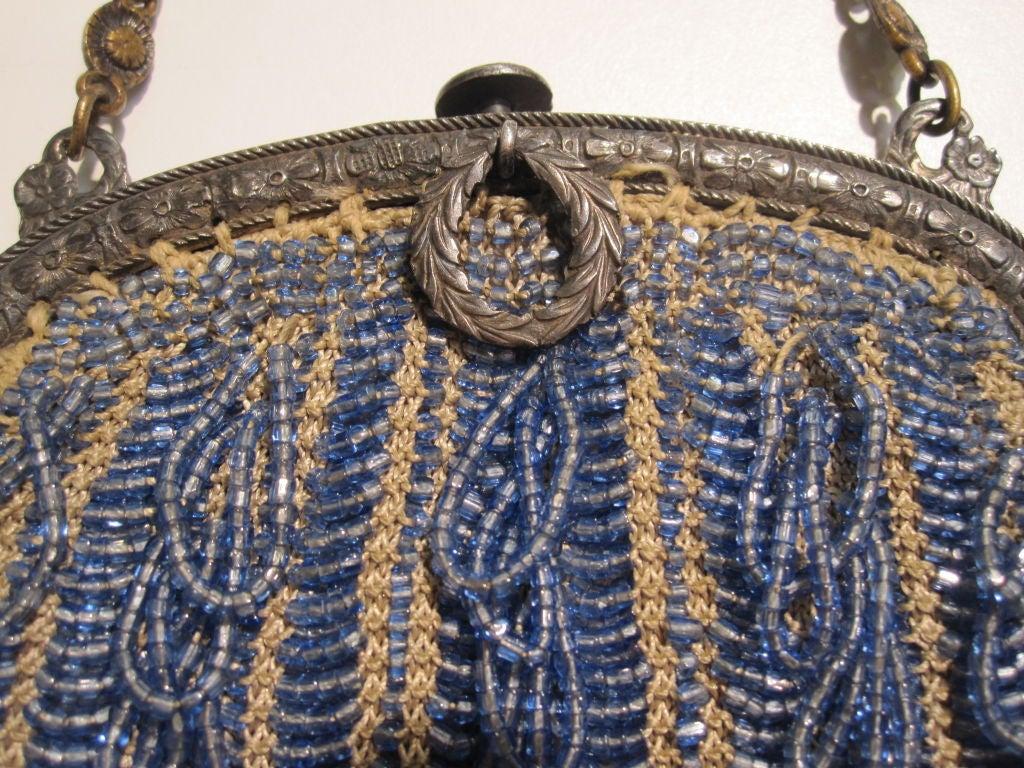 20s Cornflower Blue Loop-Fringe Hand-Beaded Bag 6
