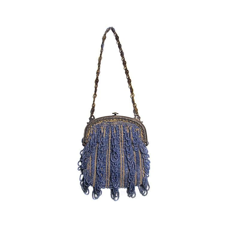 20s Cornflower Blue Loop-Fringe Hand-Beaded Bag 1
